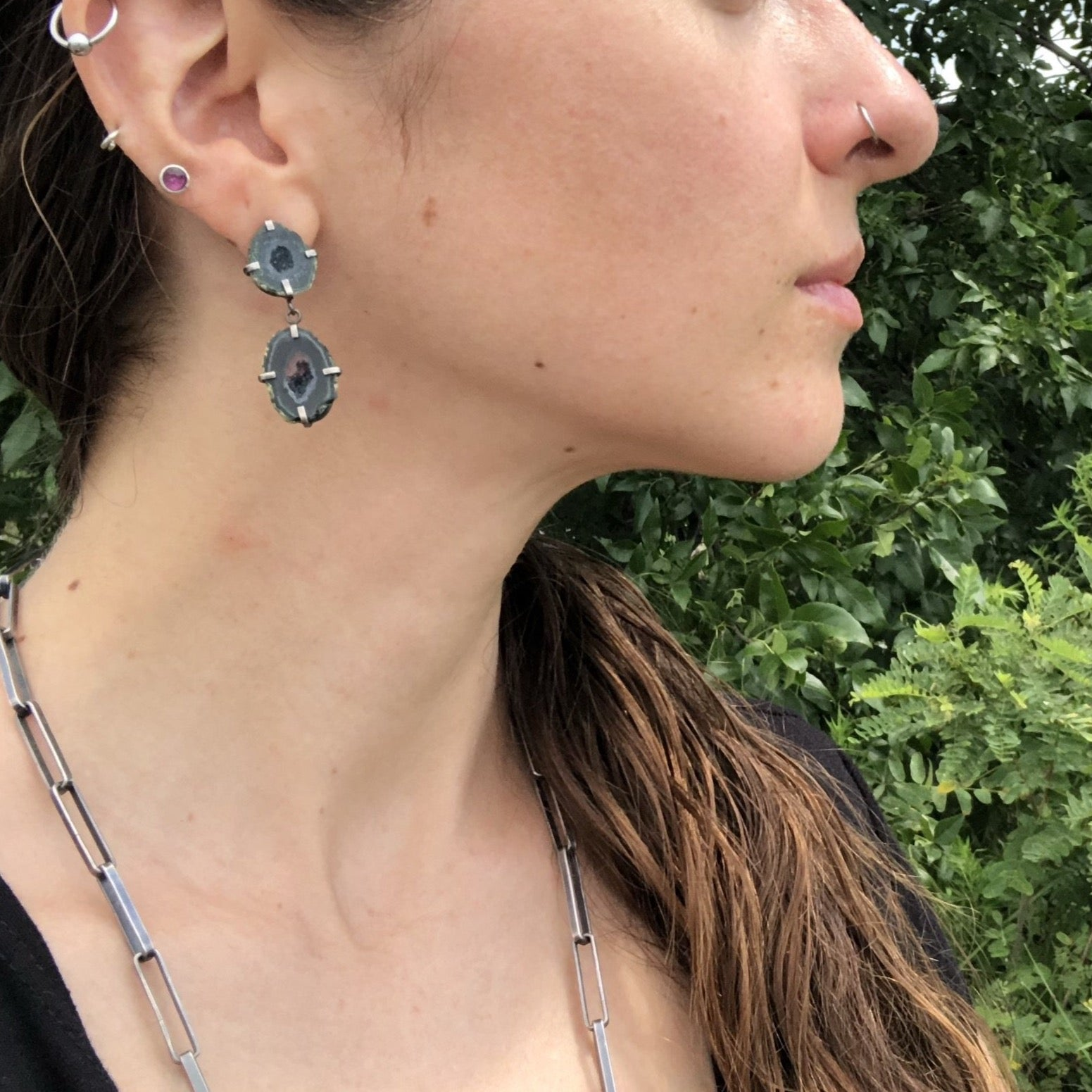 Alex Lozier Jewelry.  Double Geode druzy post earrings.