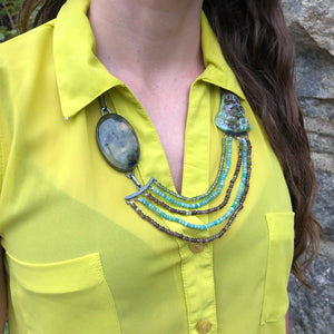 Prehnite & Turquoise Layered Bead Necklace