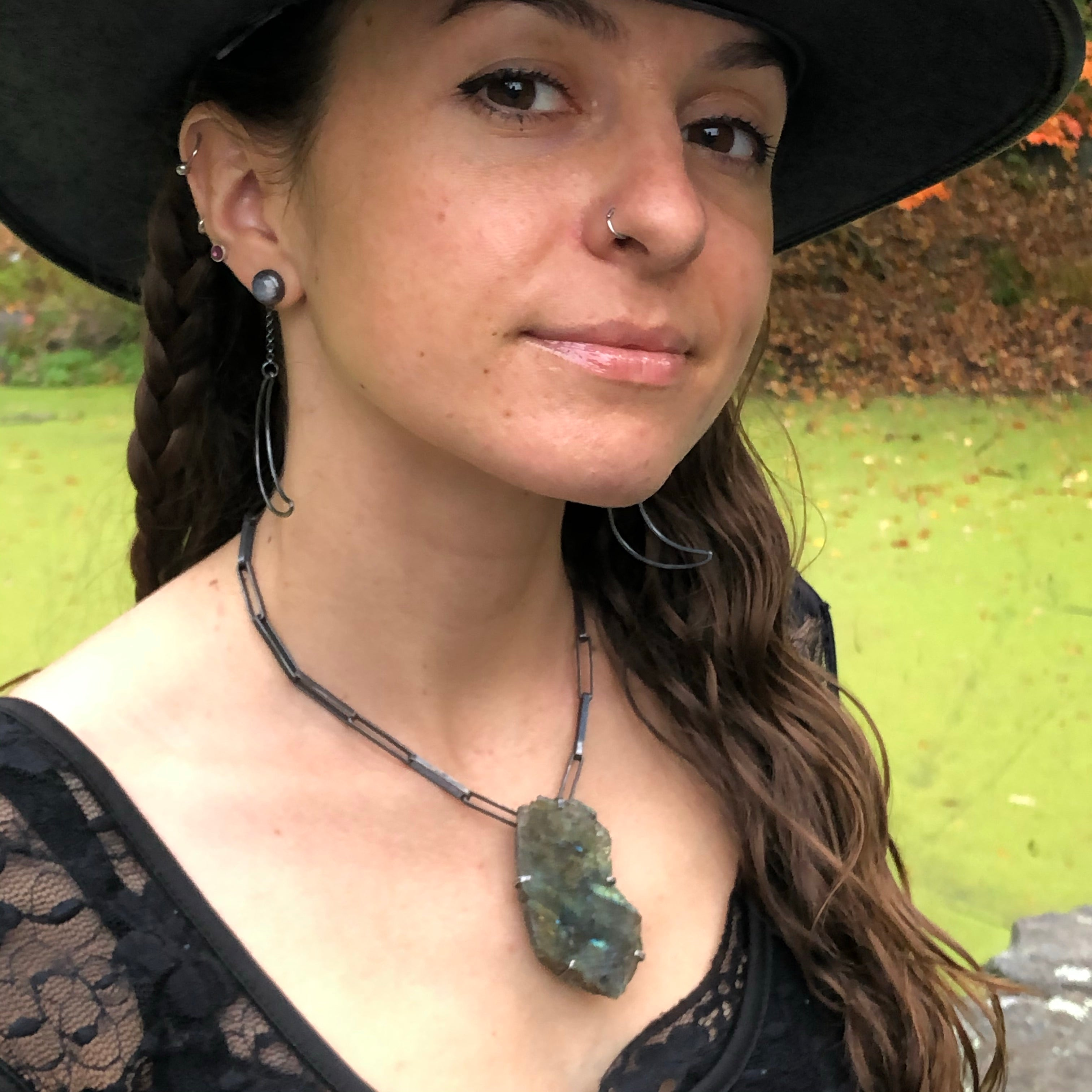 Labradorite Magical Talisman Necklace. Handmade by Alex Lozier Jewelry. Season of the Witch collection.