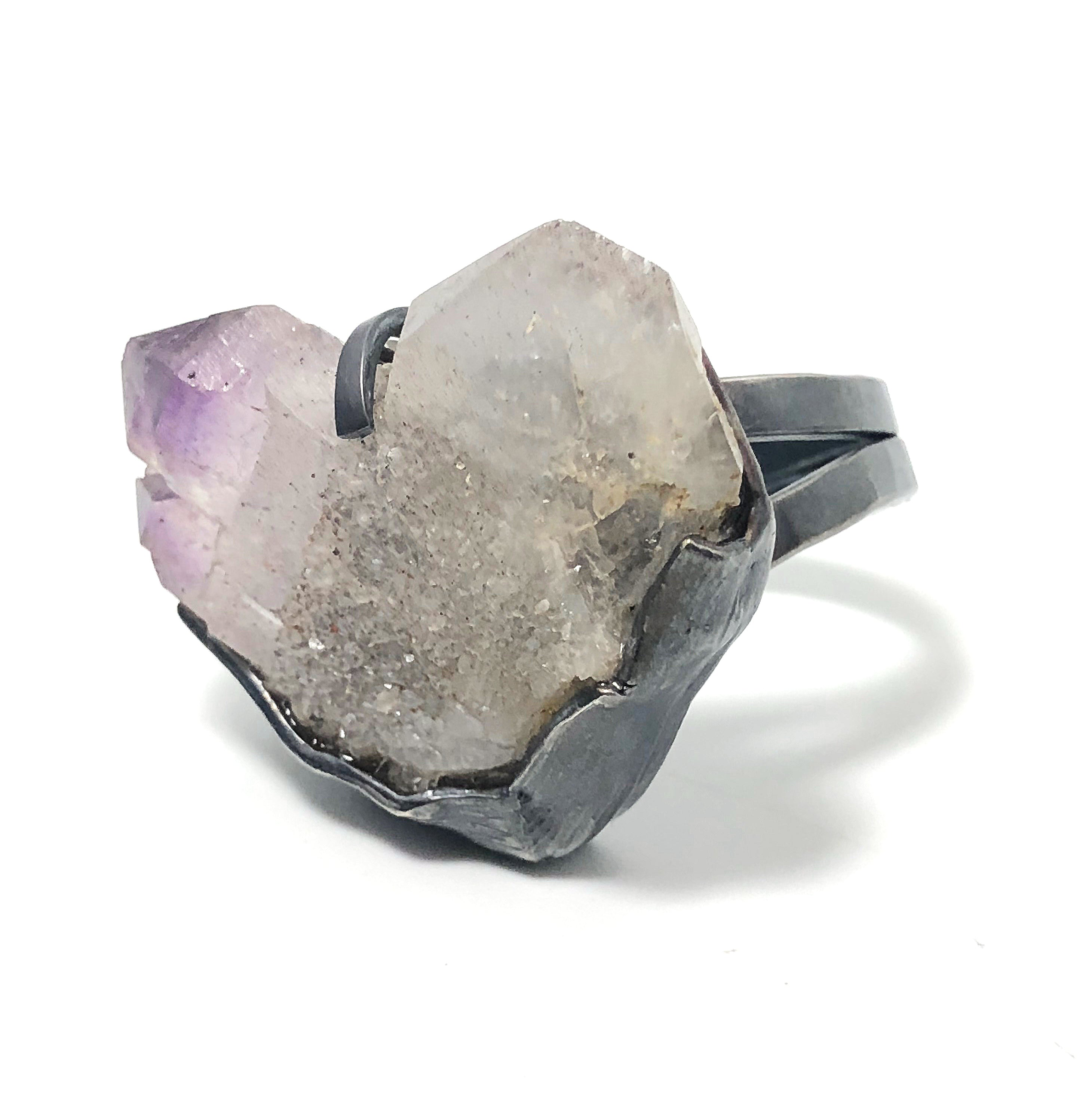 Japan Law Amethyst Crystal Statement Ring.  Handmade by Alex Lozier Jewelry.  Season of the Witch collection.