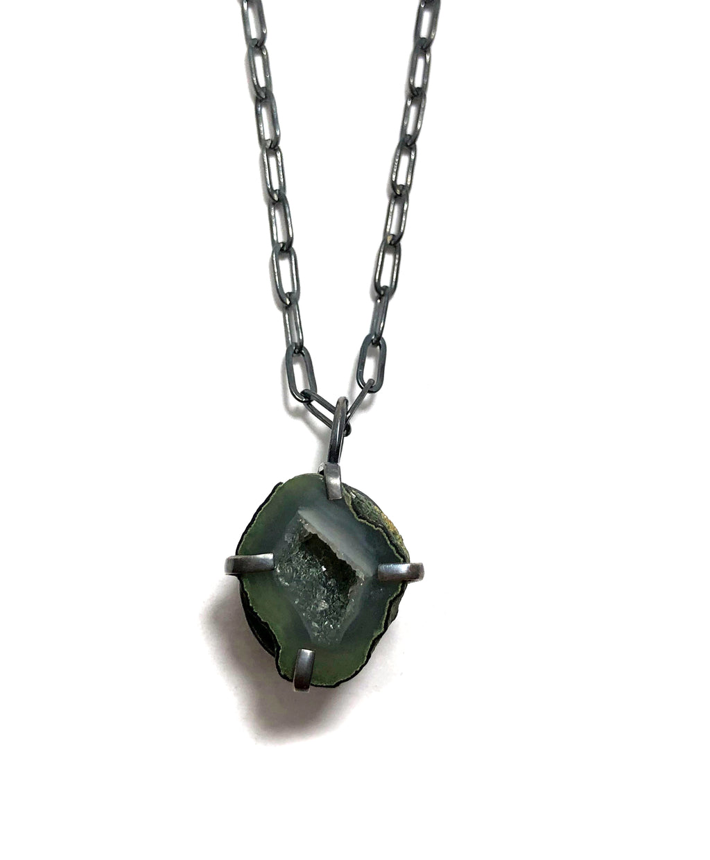 Agate Geode Necklace set in oxidized sterling silver.  Handmade by Alex Lozier Jewelry.