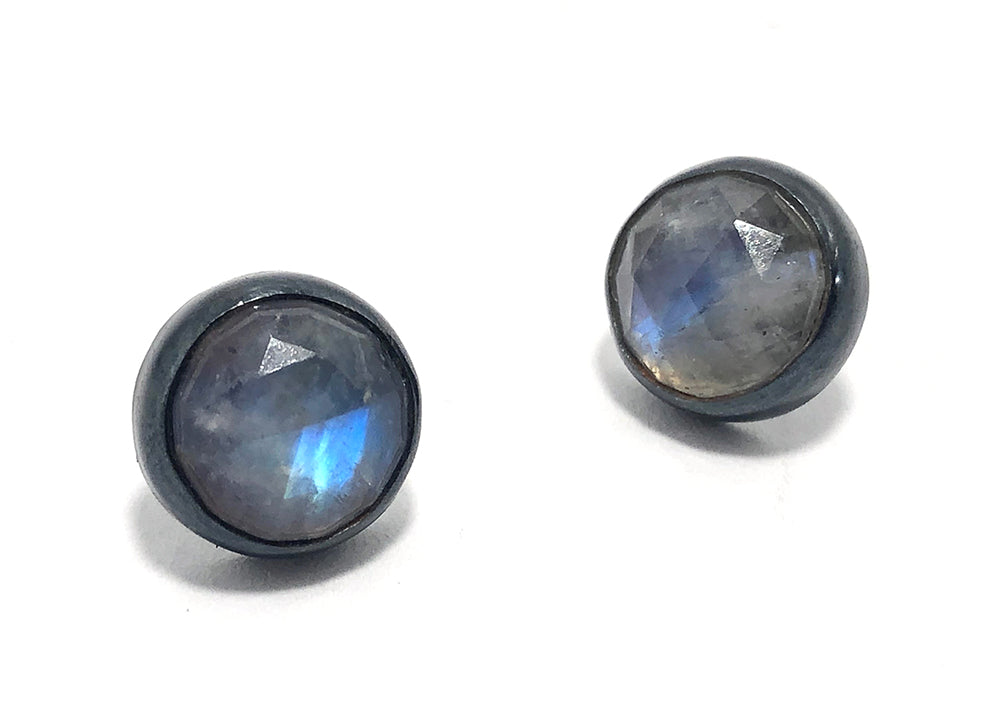 Moonstone  post earrings.  Handmade by Alex Lozier Jewely.  Season of the Witch collection.