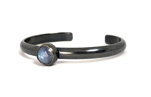 Moonstone Bangle Bracelet set in oxidized sterling silver.  Handmade by Alex Lozier Jewelry.  Season of the Witch collection.