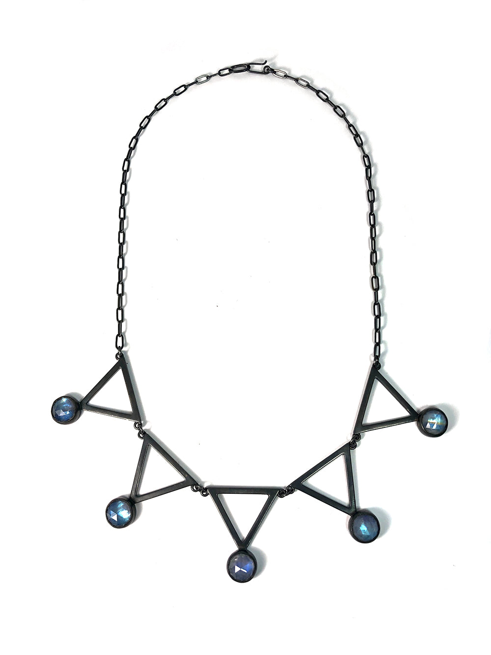 Moonstone + Triangle Alchemy Necklace.  Handmade by Alex Lozier Jewelry.  Season of the Witch collection.