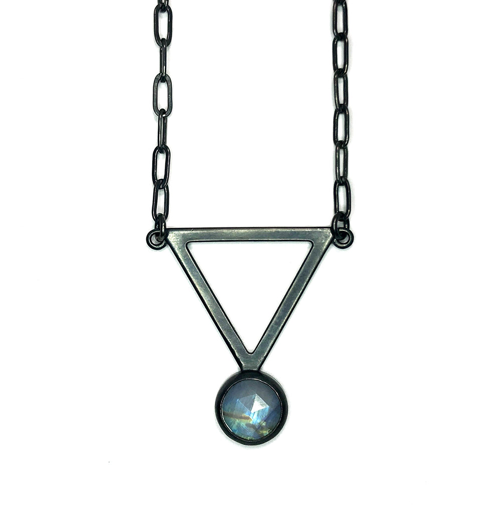 Moonstone + Triangle Alchemy Pendant.  Handmade by Alex Lozier Jewelry. Season of the Witch collection.