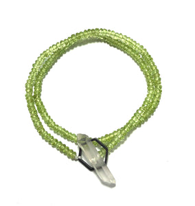 Crystal clasp bracelet on peridot beads