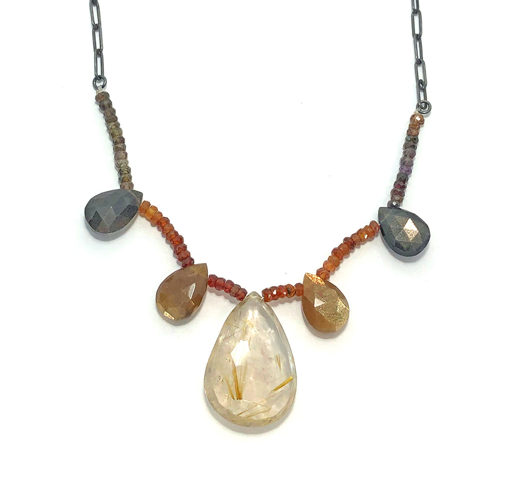 Rutilated Quartz + Golden Moon Stone Drop Necklace