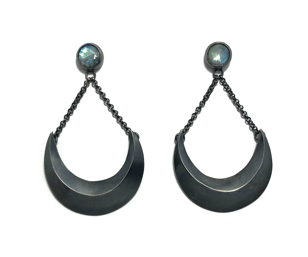 Sailor Moon earrings.  Moonstone + Crescent Moon earrings.  Handmade by Alex Lozier Jewelry.  Season of the Witch Collection
