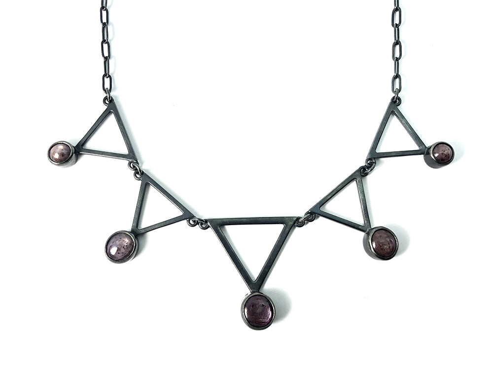 Star Ruby + Triangle Alchemy Necklace.  Handmade by Alex Lozier Jewelry.  Season of the Witch collection.