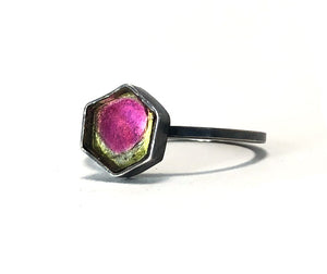 Watermelon tourmaline ring. Handmade by Alex Lozier Jewelry.