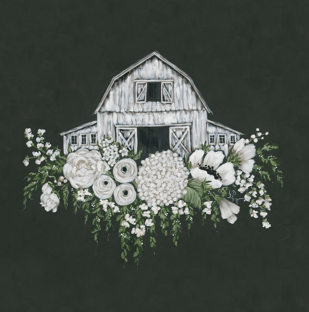 White Barn with Flowers