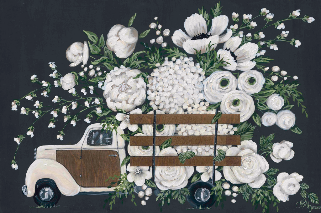 White Wood Truck with Flowers