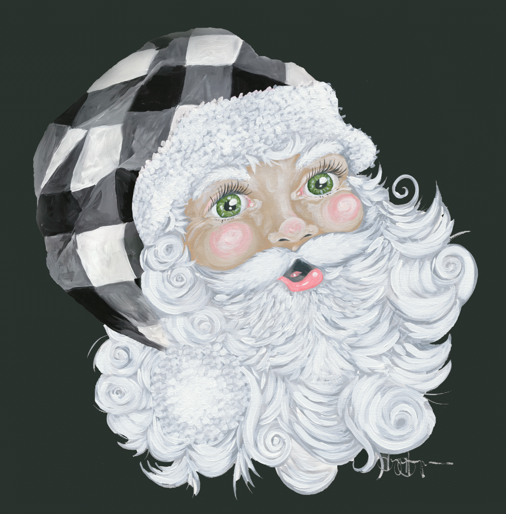 Santa with Plaid Hat Black Background