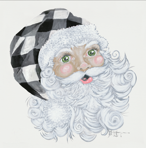 Santa with Plaid Hat White Background