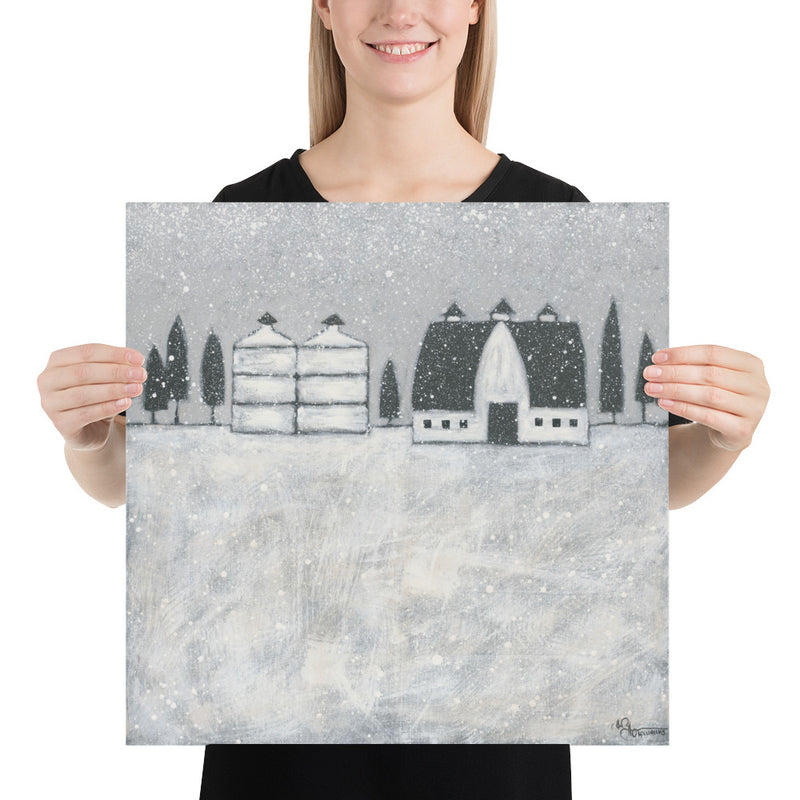 Folk Art Winter Farm