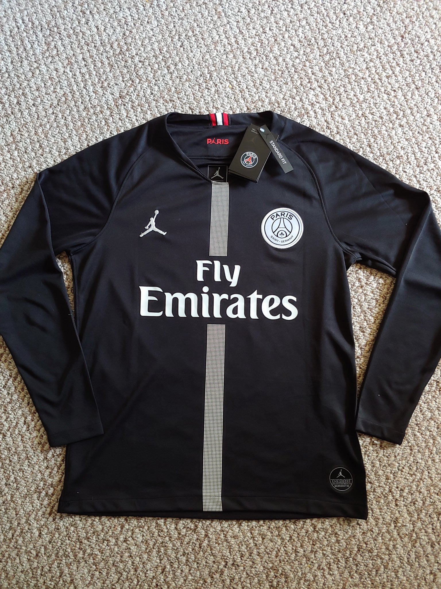 new style 529d6 3e311 Jordan Paris Saint-Germain Mbappe Black Long Sleeve Jersey