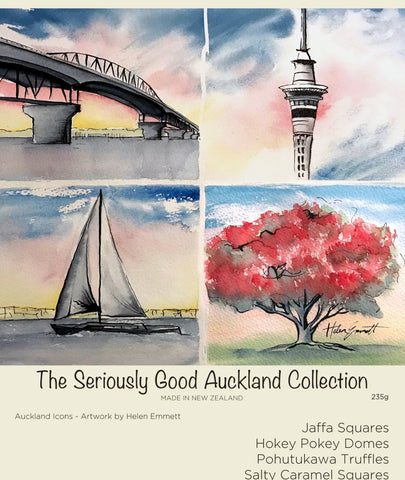 Kiwiana Collection Watercolour Auckland NZ chocolates 16 box