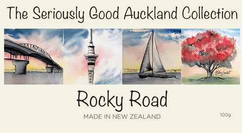 Watercolour Kiwiana Iconic Chocolate rocky road - Auckland - made in New Zealand by Seriously Good Chocolate Co