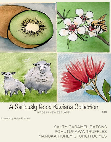 kiwiana watercolour collection 9 box - nz made iconic chocolates