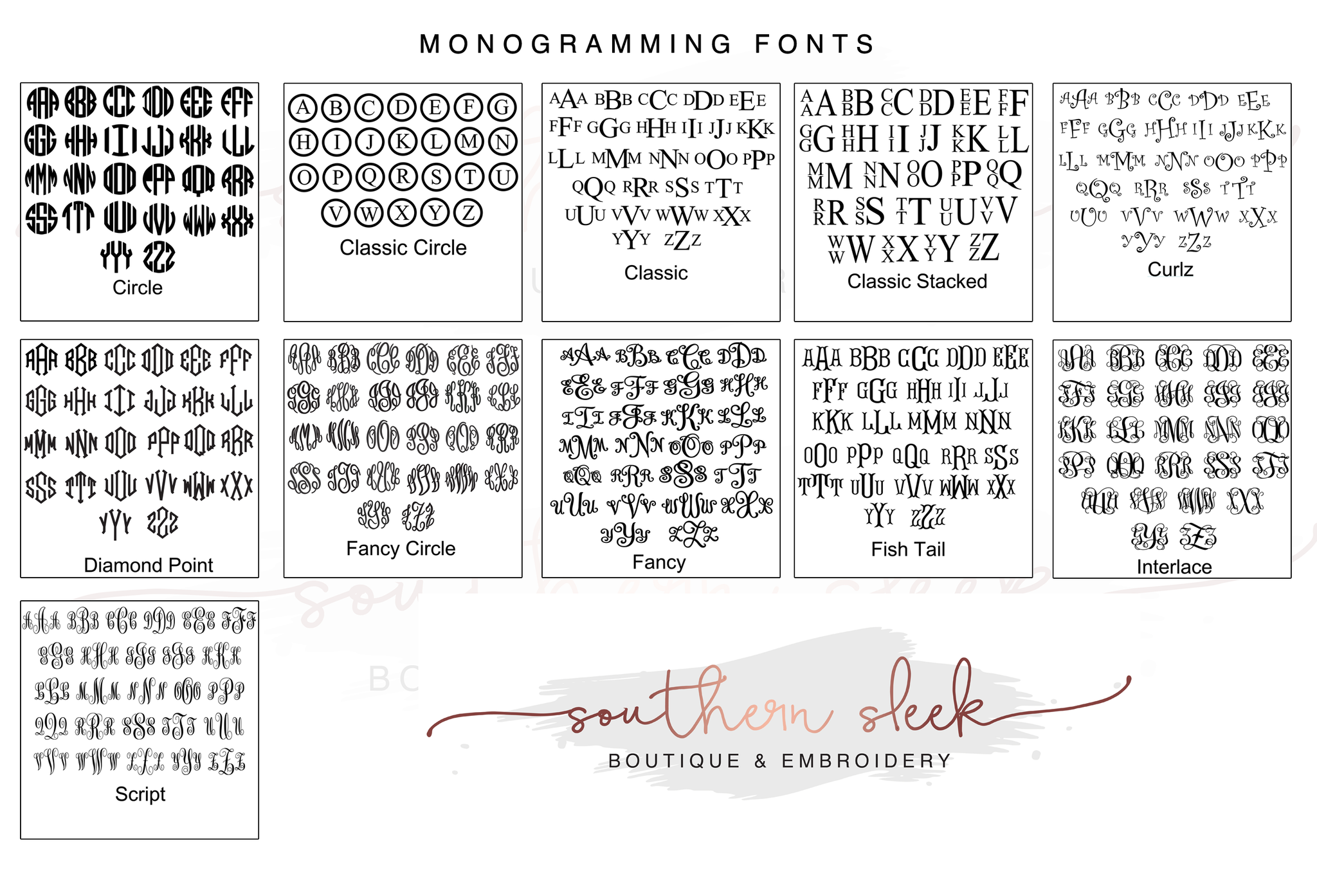 Monogram Fonts for Southern Sleek Designs