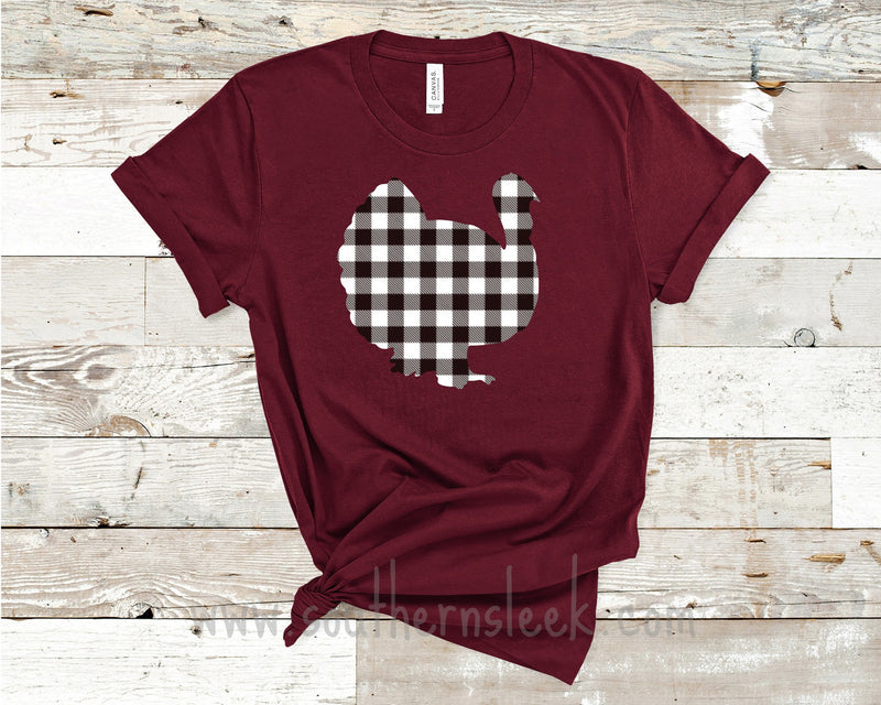 Buffalo Plaid Burgundy Turkey Shirt