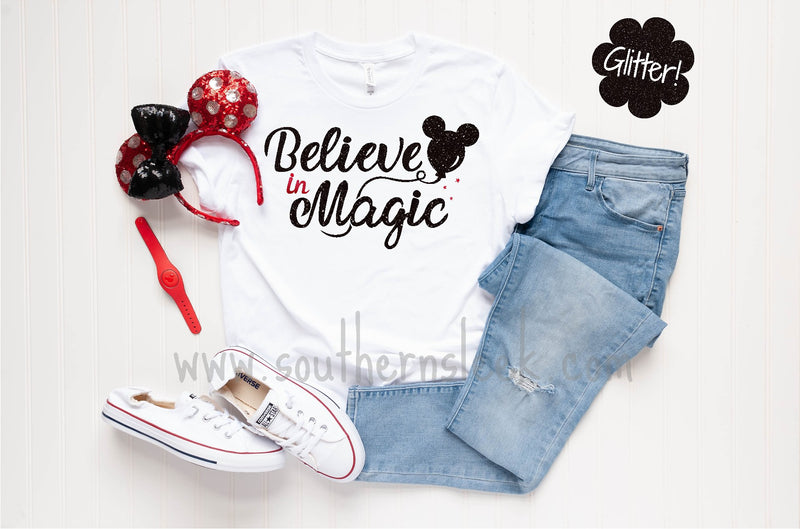 Believe in Magic Glitter Design White Shirt