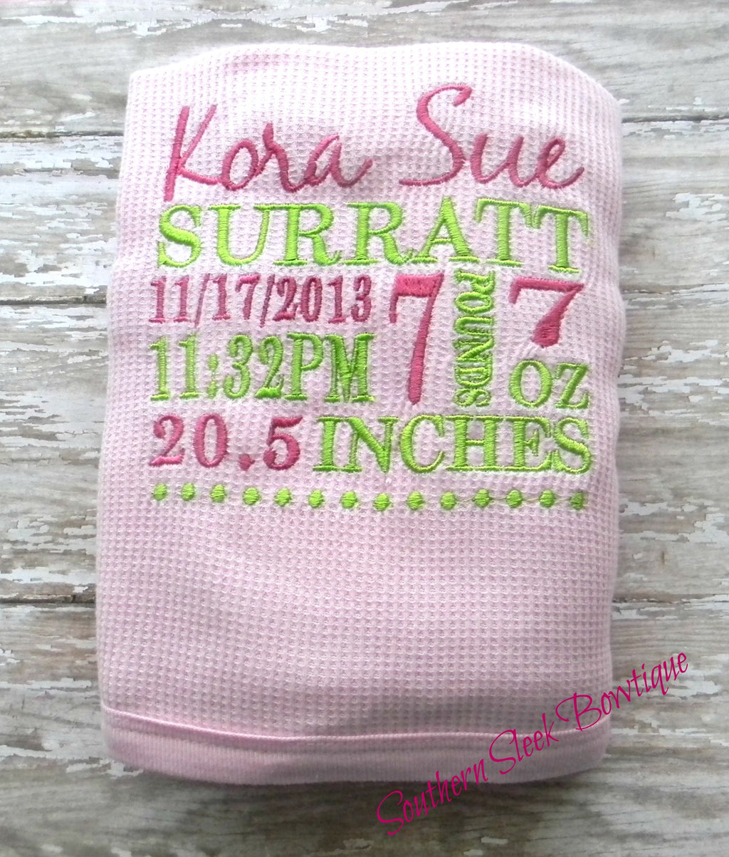 Pink Baby Blanket Embroidered with Birth Announcement in Pink & Green