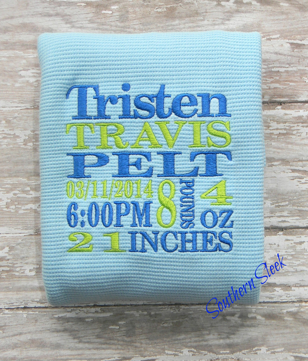 Blue Baby Blanket Embroidered with Birth Announcement in Royal Blue & Green
