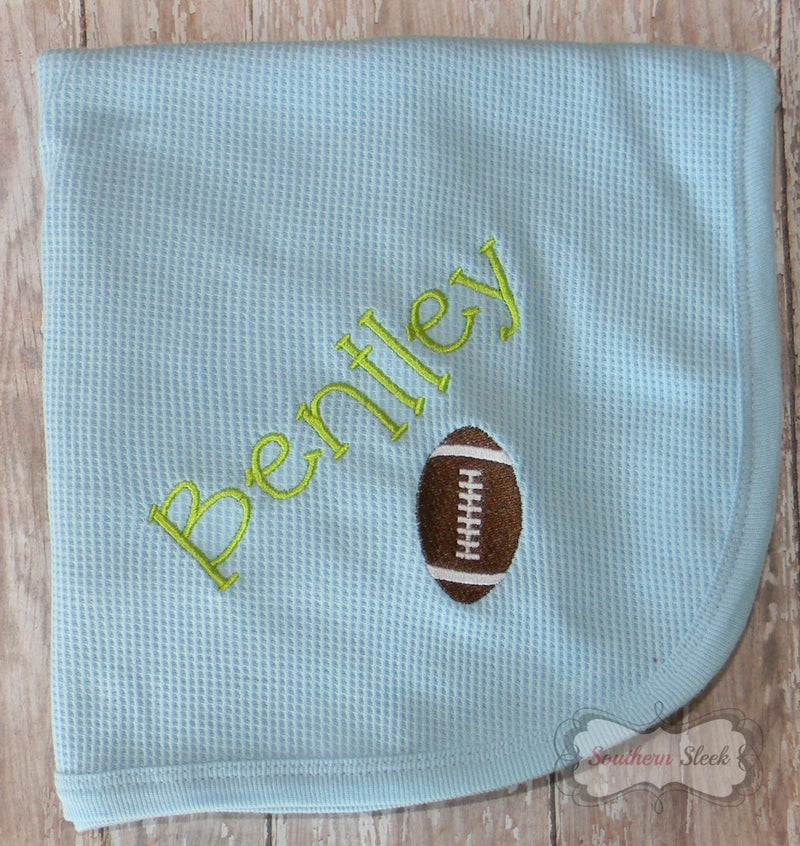 Blue Baby Blanket with Embroidered Name & Football