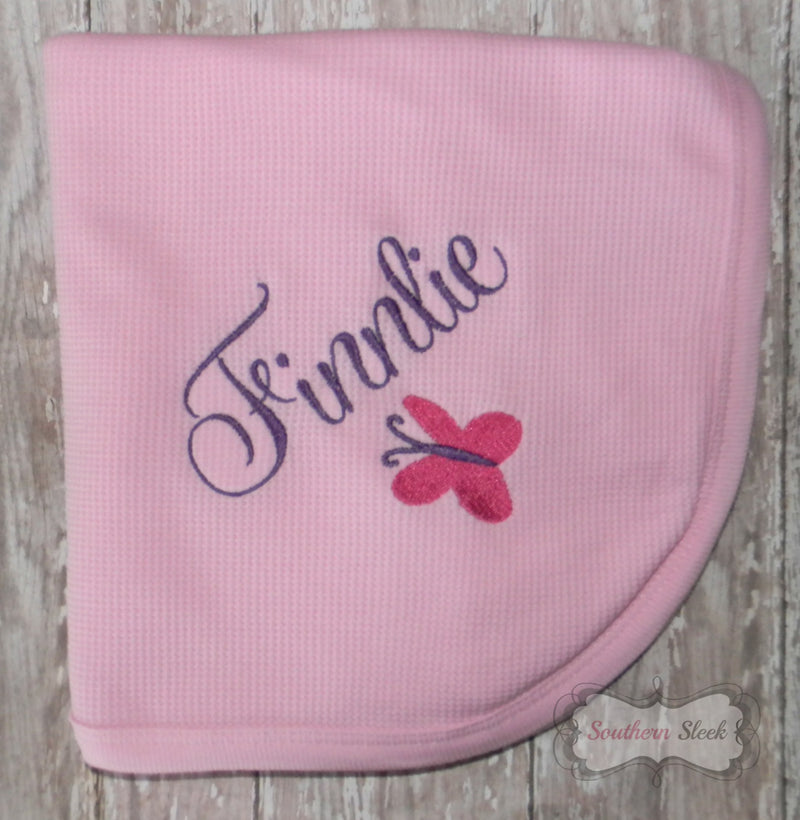 Pink Baby Blanket with Embroidered Name & Butterfly