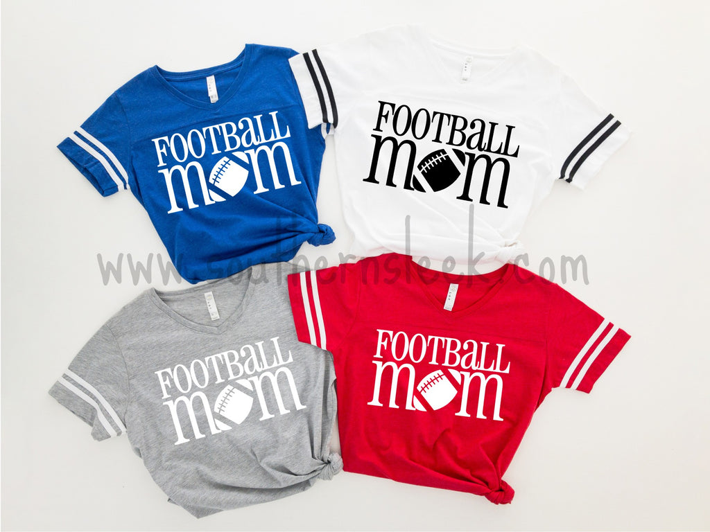 Football Mom Shirt in Blue, White, Grey, or Red