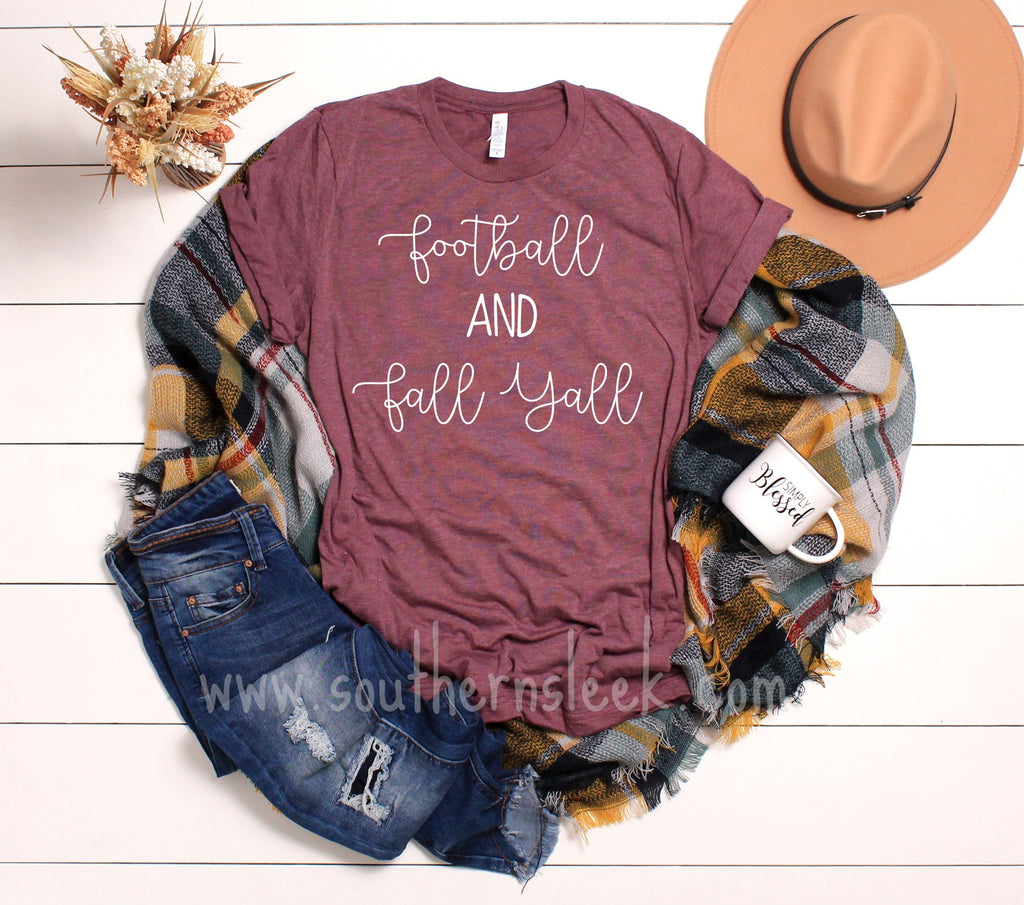 Football & Fall Yall Maroon Shirt