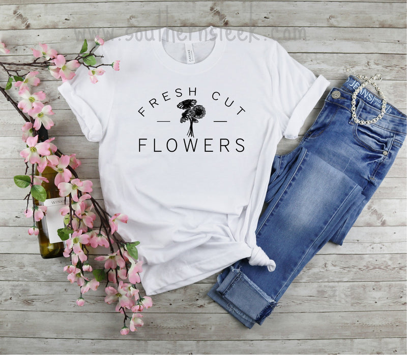 Fresh Cut Flowers White Graphic T-Shirt