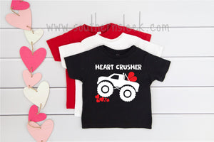 Heart Crusher Kids Valentines Shirt in Black, White or Red
