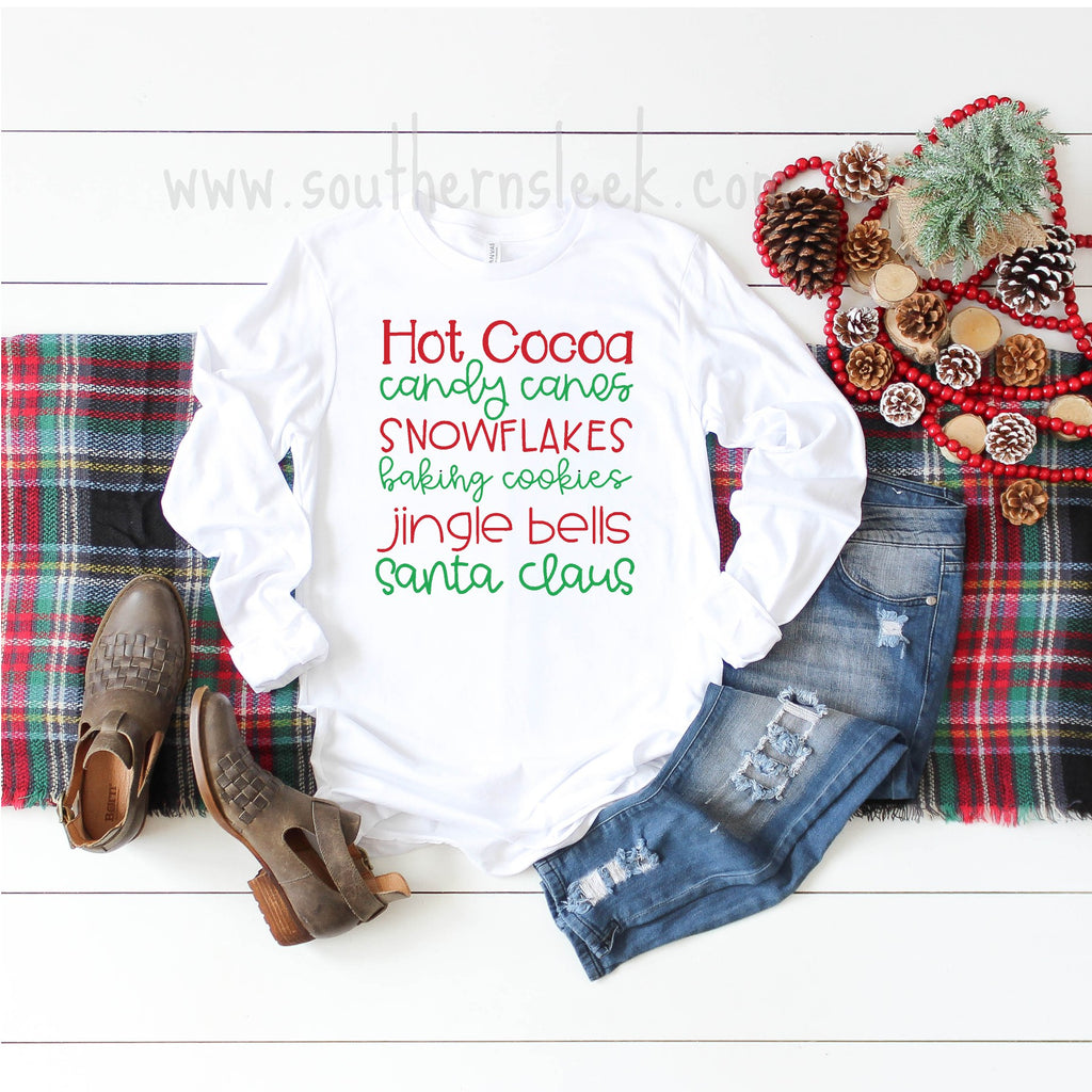 Hot Cocoa Candy Canes Snowflakes Holiday Cookies Jingle Bells Santa Claus Shirt