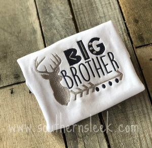 Big Brother Deer Embroidered Shirt or Bodysuit in Navy Blue & Grey