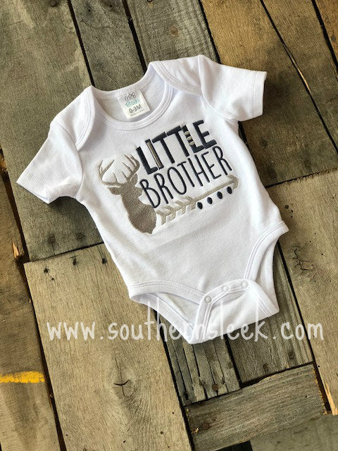 Little Brother Deer Embroidered Shirt or Bodysuit in Navy Blue & Grey