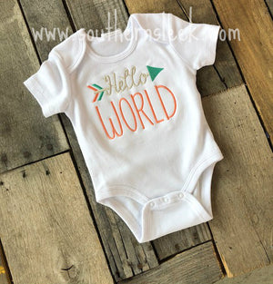 Hello World Embroidered Bodysuit or Shirt