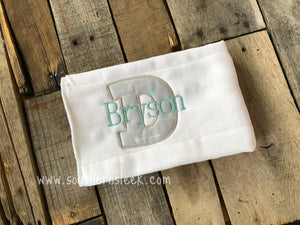 Gray & Aqua Arrows Personalized Burp Cloth