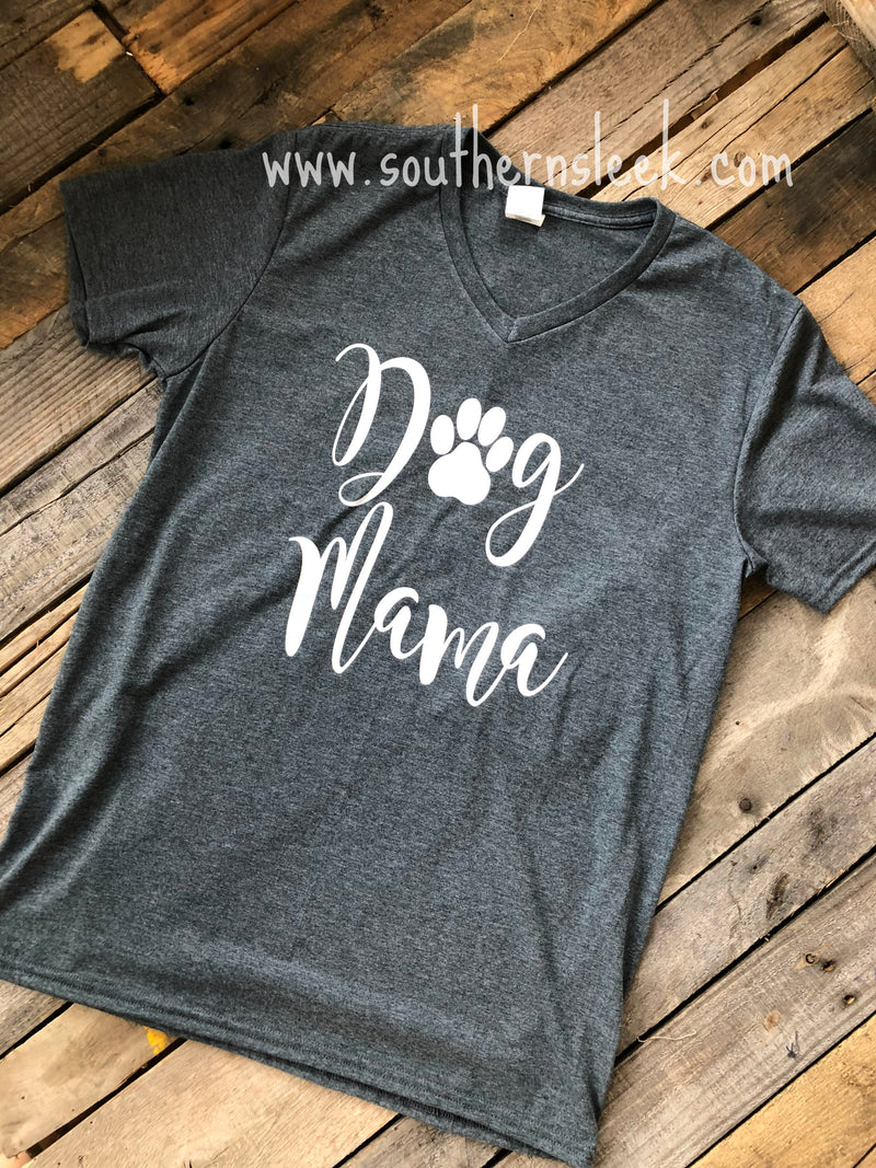 Dog Mama Charcoal Grey V-Neck Shirt