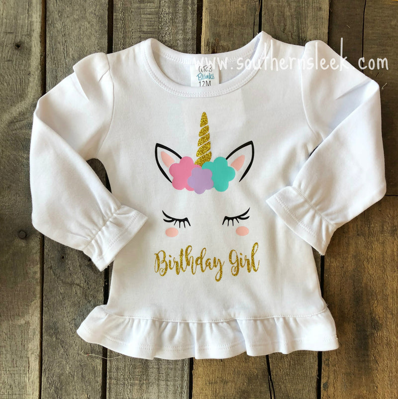 Birthday Girl Unicorn Shirt or Bodysuit