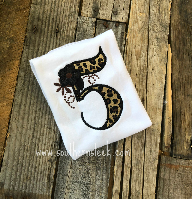 Leopard Print Birthday Embroidered Shirt or Bodysuit