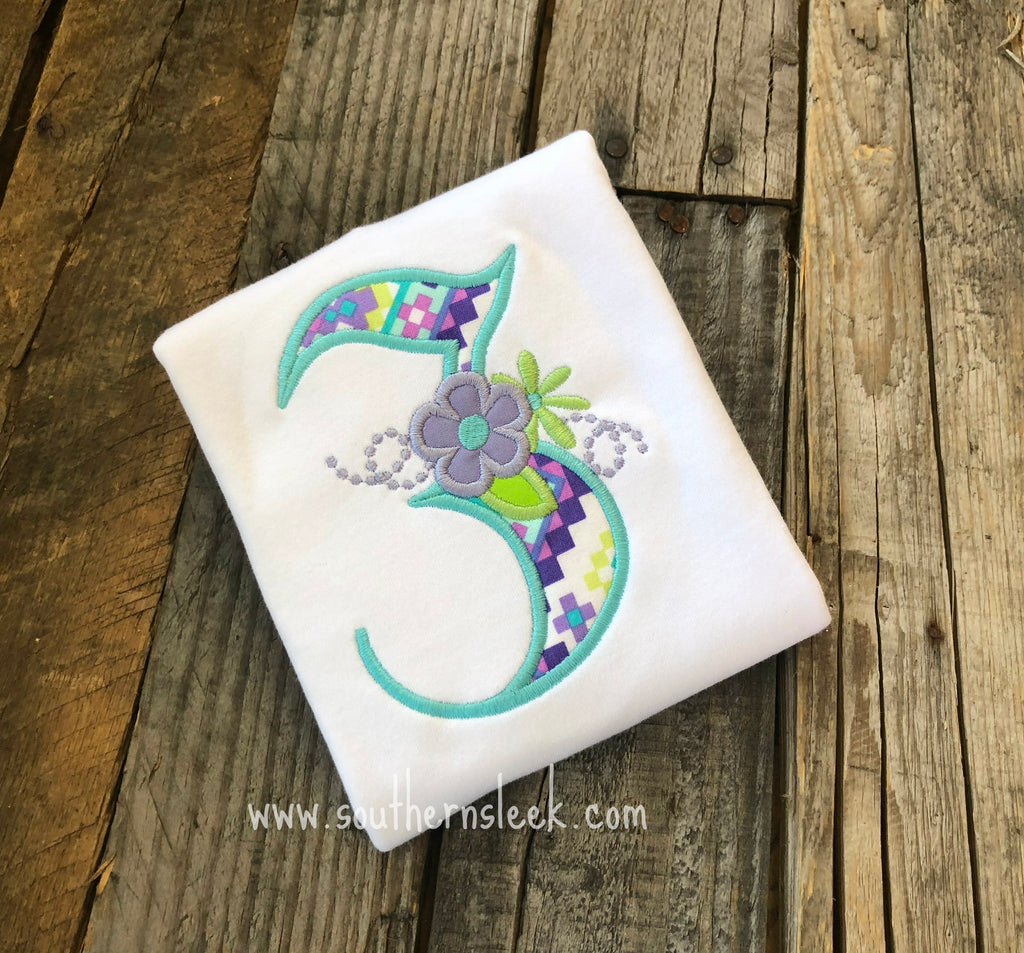 Purple, Teal & Green Floral Birthday Embroidered Shirt or Bodysuit
