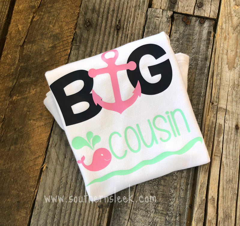 Big Cousin Shirt or Bodysuit in Pink, Navy & Mint Green