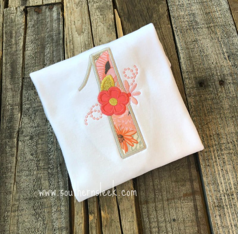 Coral & Grey Floral First Birthday Embroidered Shirt or Bodysuit