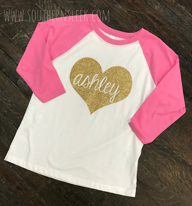 Pink Raglan with Gold Glitter Personalized Heart