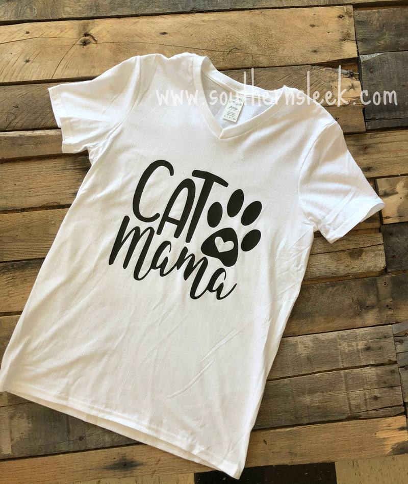 Cat Mama White V-Neck Shirt