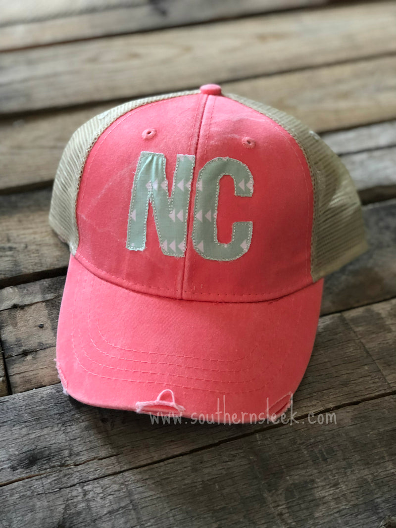 Coral & Mint State Abbreviation Trucker Hat
