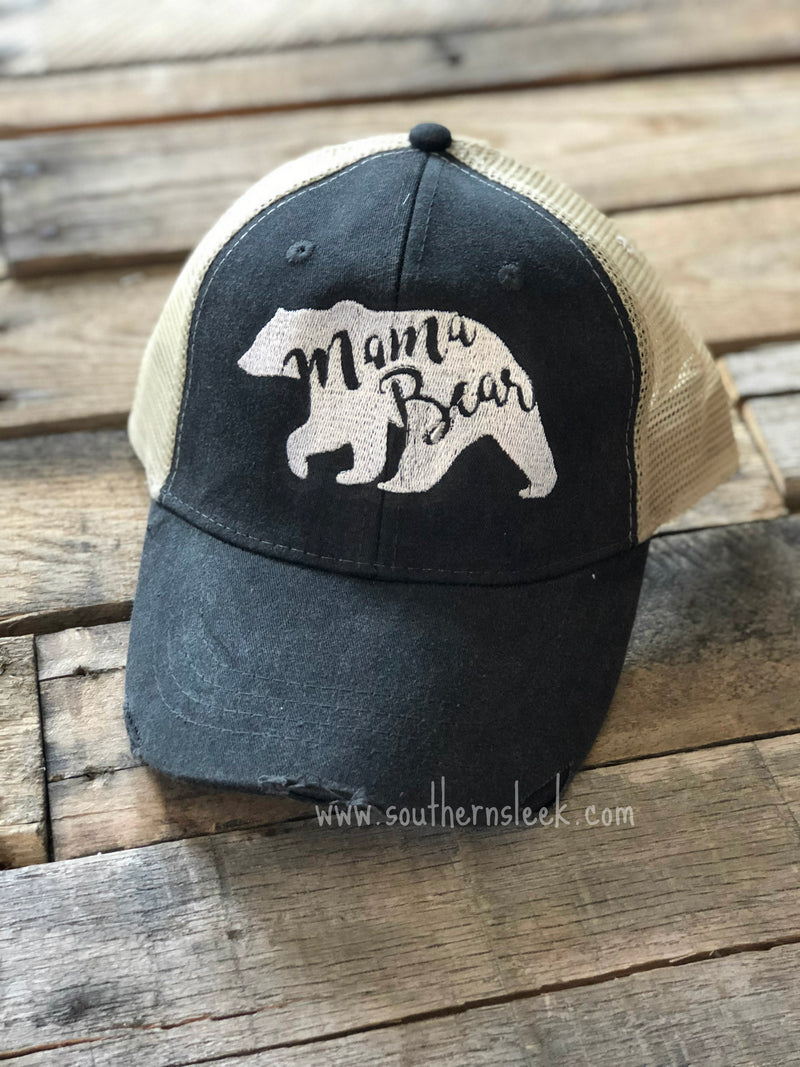Mama Bear Distressed Trucker Hat