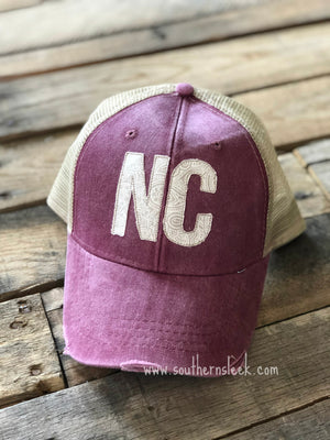 Burgundy & Ivory State Abbreviation Trucker Hat